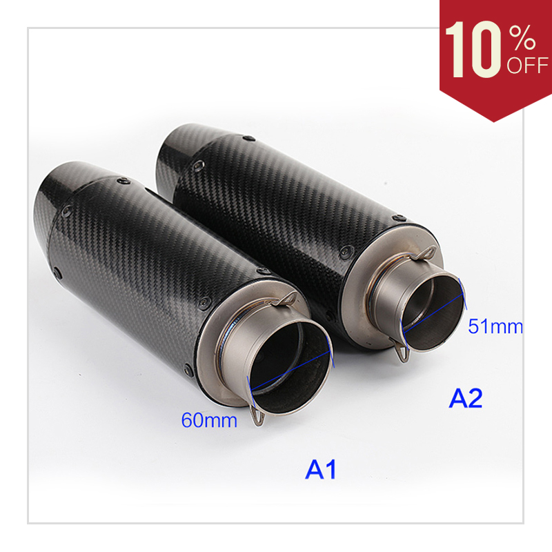 Universal 51mm Motorcycle Exhaust muffler Pipe carbon fibre Escape Silencer Tube For Honda CBR1000R Cb400 MT09 R25 R3 MT-09 mt07