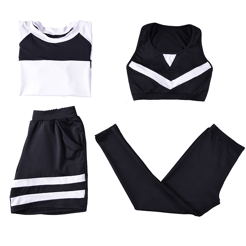 2018 New Women Yoga Set Breathable Fitness T-shirt+Leggings+Bra+Shorts 4 Piece Gym Clothing Diagonal Back Large Size Sports Suit