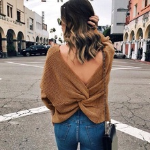 Womens V -Neck Backless Sweaters Reversible Long Sleeve Cross Tie Knot Sexy Knitted Tops Short Knitting Pullovers Jumpers white self tie design cross front v neck knitting jumpers
