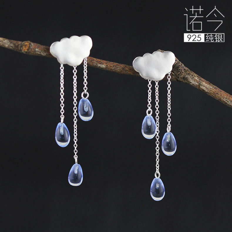 925 pure Tremella nail female summer rain clouds fringed accessories fresh sweet Crystal Earrings long earrings 925 female fashion earrings korean tremella nail earring japan hypoallergenic flower pearl earrings jewelry
