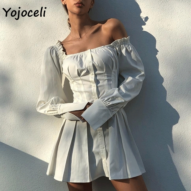 60a5b6dc45990 Yojoceli 2018 New Spring Chic white ruffled dress long sleeve party club  square neck skater dress female mini dress vestidos-in Dresses from Women's  ...