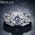 MDEAN white gold filled engagement Rings  for women CZ Diamond Jewelry luxury wedding bague bijoux classic accessories MSR101