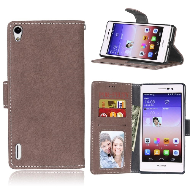 Slim New Frosted Leather Cover For Huawei Ascend P7 LTE P7-L10 phone Case For Coque Huawei P7 P 7 HuaweiP7 Flip Slots Card Capa<