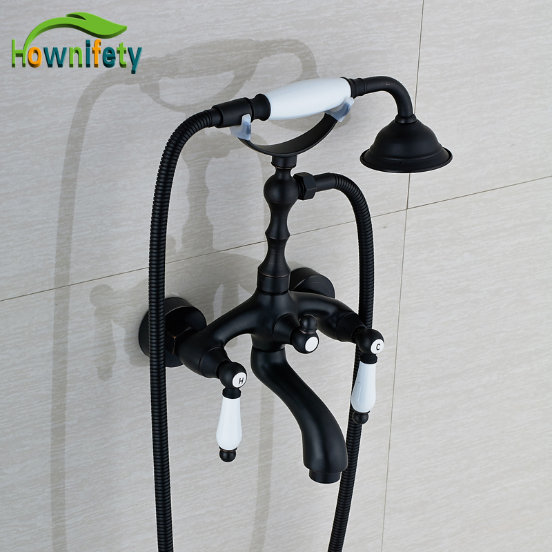 Oil Rubbed Bronze Bathroom Tub Faucet Double Handles Swivel Spout Mixer Tap with Hand Shower free postage oil rubbed bronze tooth brush holder double ceramic cups holder