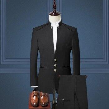 e86b8b10d9c Для мужчин костюмы Тонкий трех частей Однобортный узкие китайский Стиль Для  Мужчин s осень-зима Новый Для мужчин пиджак