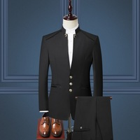 Mens Suits Slim Three piece Single Breasted Skinny Chinese Style Men's Autumn Winter New Men's Suit Jacket
