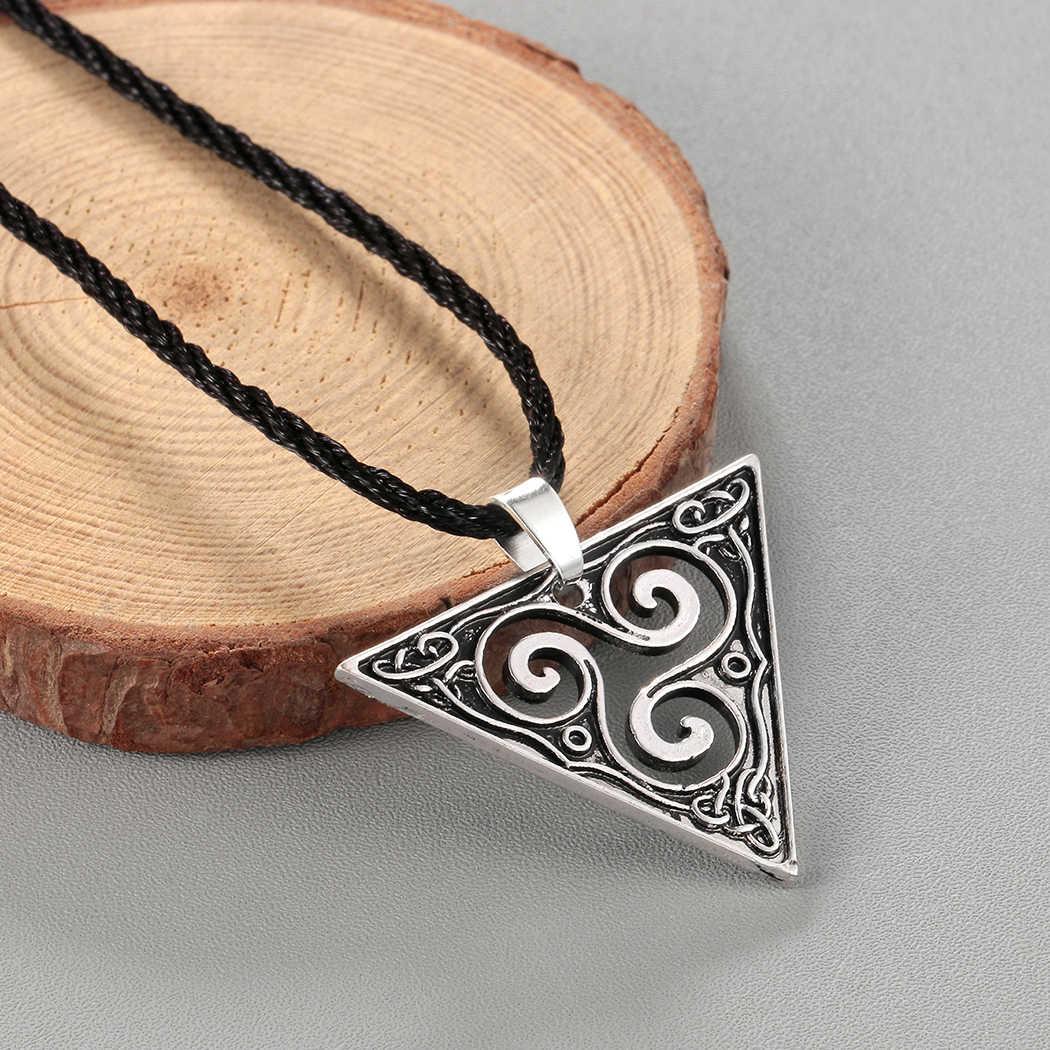 Kinitial Retro spirali Triskele naszyjnik geometryczny trójkątny wisiorek Viking Vintage biżuteria Triskelion naszyjnik mężczyźni kobiety collares