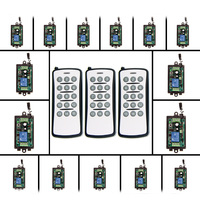 DC 9V 12V 24V 1 CH 1CH RF Wireless Remote Control Switch System, 15CH Transmitter+Receiver,Momentary/Toggle,315 /433 MHz