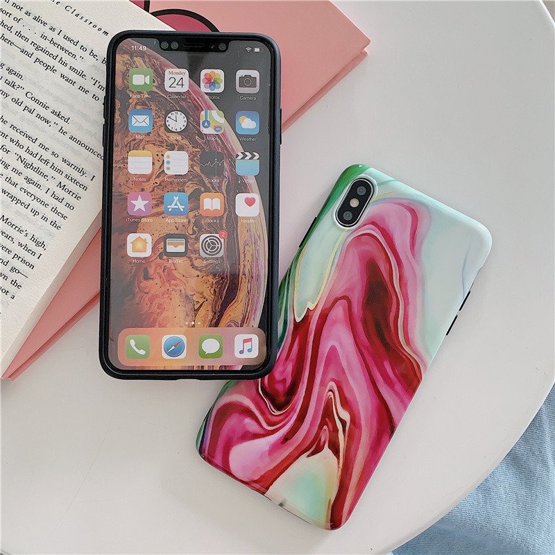 Ink green marble phone cases For iphone XS MAX XR X case For iphone 6 6s 7 8plus painted TPU soft shell back cover shell in Fitted Cases from Cellphones Telecommunications