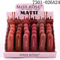 24PCS/LOT Miss Rose Natural Lipstick Waterproof Makeup Lip Matte Lip Stick Cosmetics Sexy Red Lip Tint Nude Lipstick Matte Batom