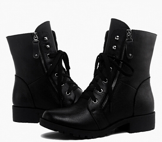 Women Spring Autumn Winter Wedges Round Toe Lace Up Zipper 2018 New Fashion Ankle Martin Boots Size 35-40 SXQ0905 fashion winter women martin boots round