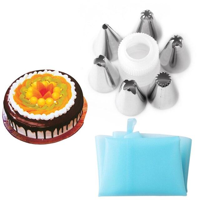 FHEAL Silicone Icing Piping Crema Pasticcera Bag con 6 pz In Acciaio Inox Set di Ugelli Della Torta di DIY Che Decora Attrezzo di Cottura Attrezzature e Accessori da forno