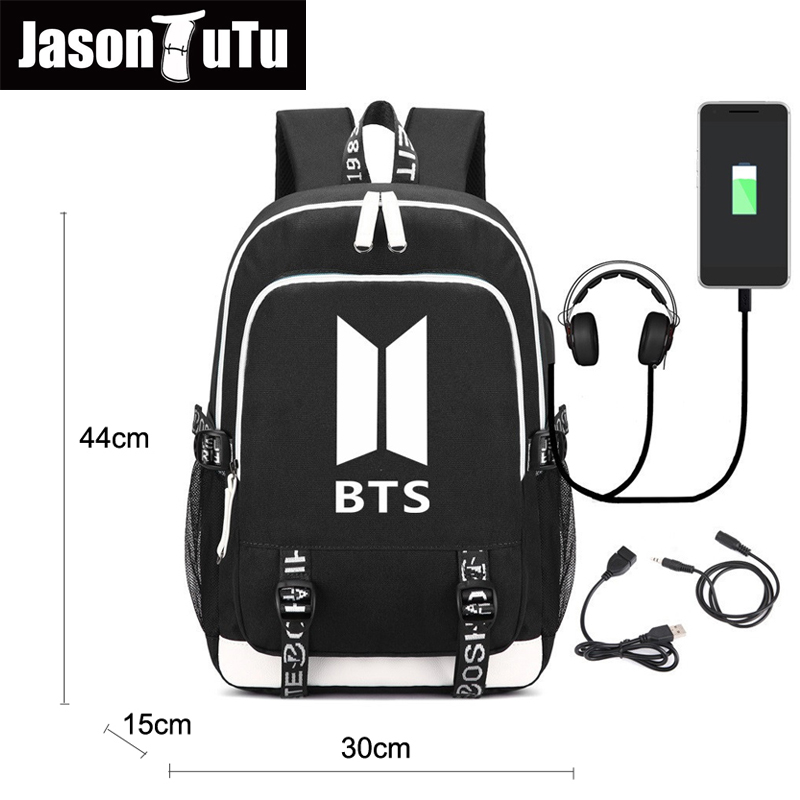 New Listing bts Backpack women men shoulder travel bts bag Teenage bookbags Backpacks USB Charge Headphone Jack Laptop bag FN897 сумка asics 134934 1087 bts backpack