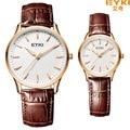 2016 de alta qualidade da marca de luxo eyki relógios do amante da moda business casual clássico auto data homens de couro as mulheres se vestem relógios