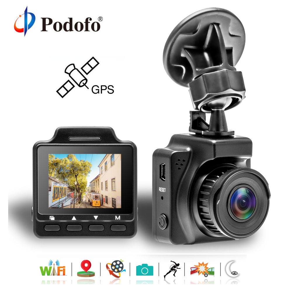 Podofo 1.5 Inch Car DVR Original Novatek96658 Video Registrator Car DVR Wifi GPS Video Recorder FHD 1080P Dash Cam Camcorder