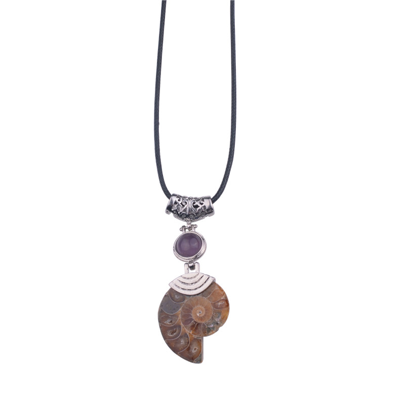 Natural Ammonite  necklaces & pendants with  Lapis Lazuli  Beads Stone Jewelrcollier christmas gifts