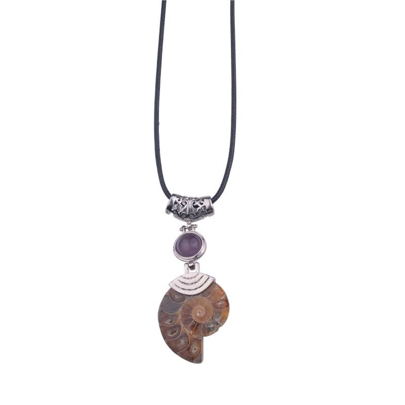 Kalung & loket Ammonite semula jadi dengan hadiah natal Lapis Lazuli Beads Stone Jewelrcollier