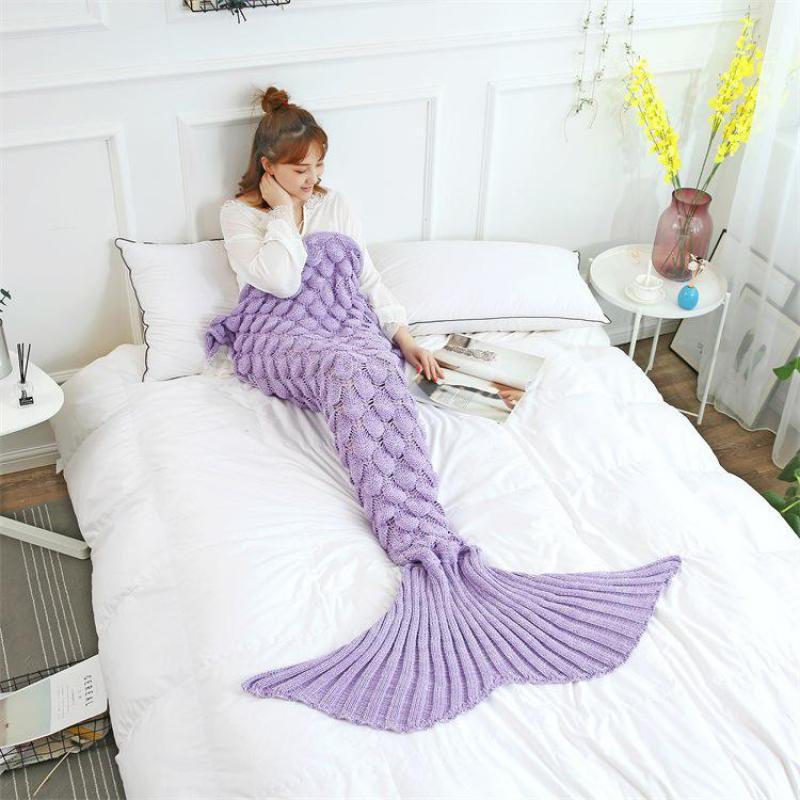 Spring New Adult Comfortable Sleep Blankets Sweet Soft Handmade Knit Blanket Seasons Breathable Fish Scale Mermaid Blanket Gift