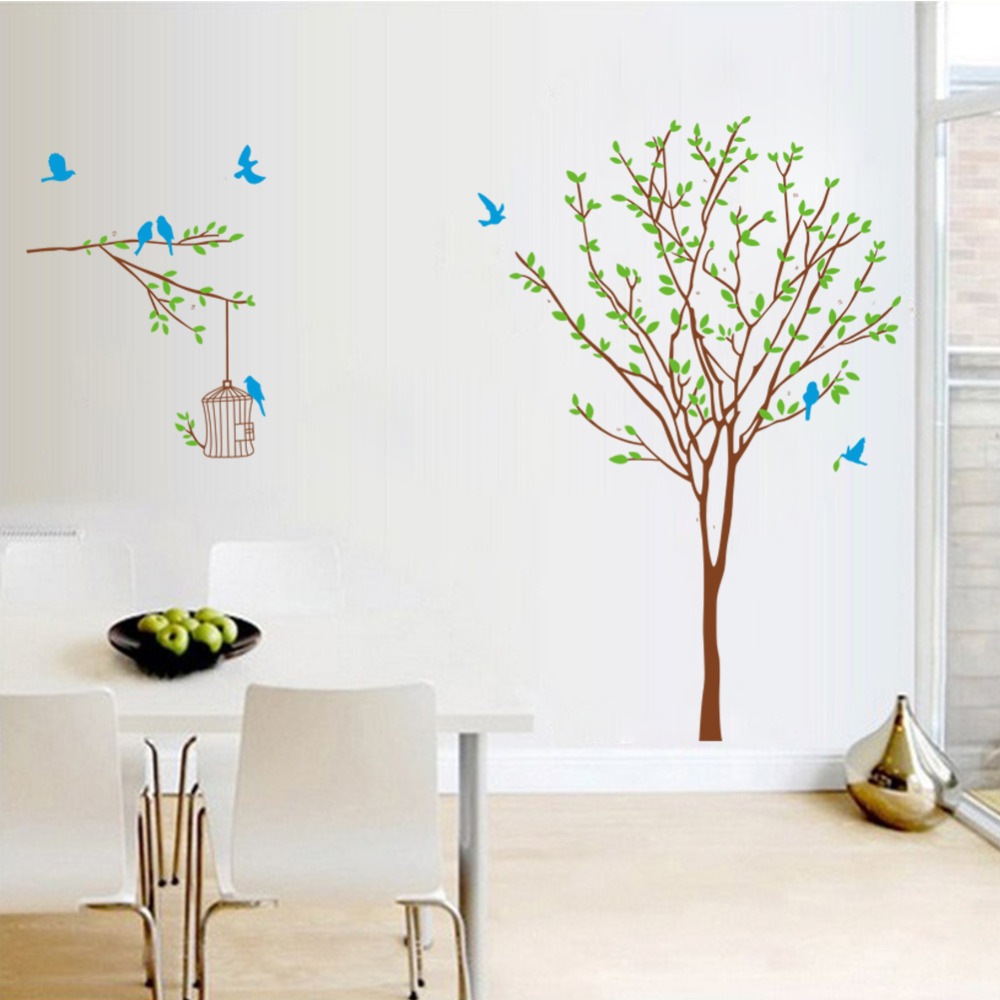 Blue Birds Cage On The Tree Wall Stickers For Kids Rooms Home Decor Diy Wallpaper Art