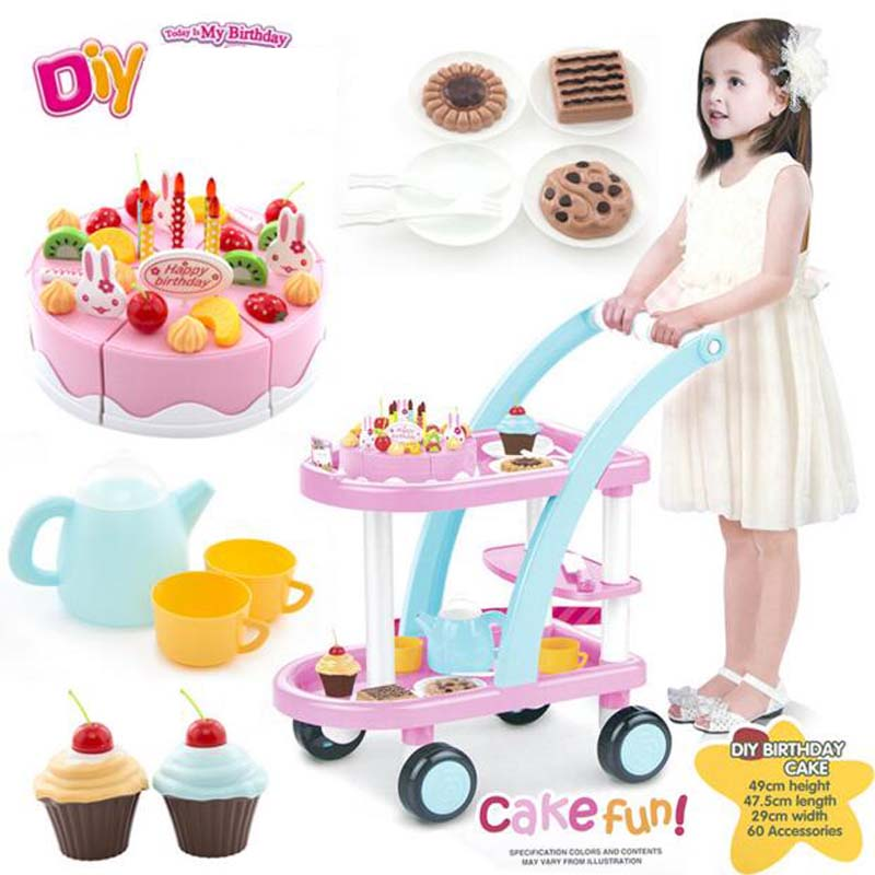Simulation Dollhouse DIY Birthday Cake Carts Furniture Toy Pretend Play Classic Toys Doll House Gift For Kid Furnishings/Deco cutebee pretend play furniture toys wooden dollhouse furniture miniature toy set doll house toys for children kids toy