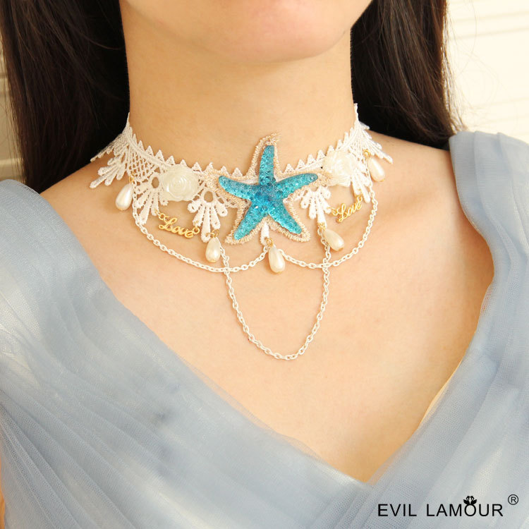 2019 New Fashion Lace Detachable Collar Clavicle Necklace Diy  Five-pointed Star
