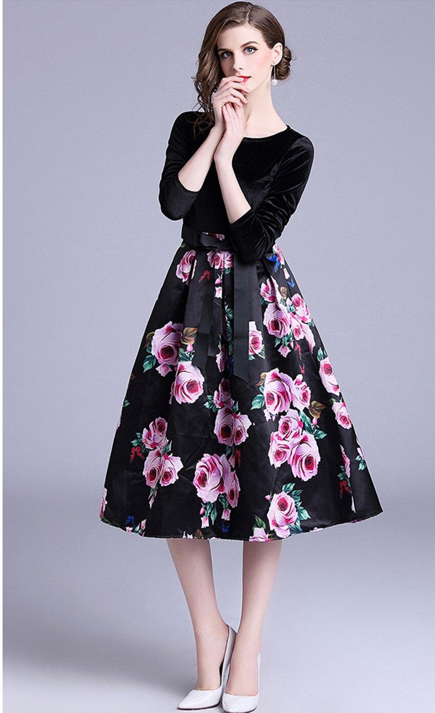 400655686537 Casual Fiore Sfera Donne Dell abito Di Vestito Delle Abiti O Stampato Collo  Il Velluto Nero Arco Sottile Del ...