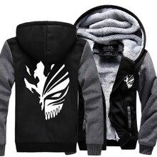 Anime Bleach Men Sweatshirts 2016 winter thicken fleece Kurosaki Ichigo hoodies men hip hop fashion Zippered hoodie for fans