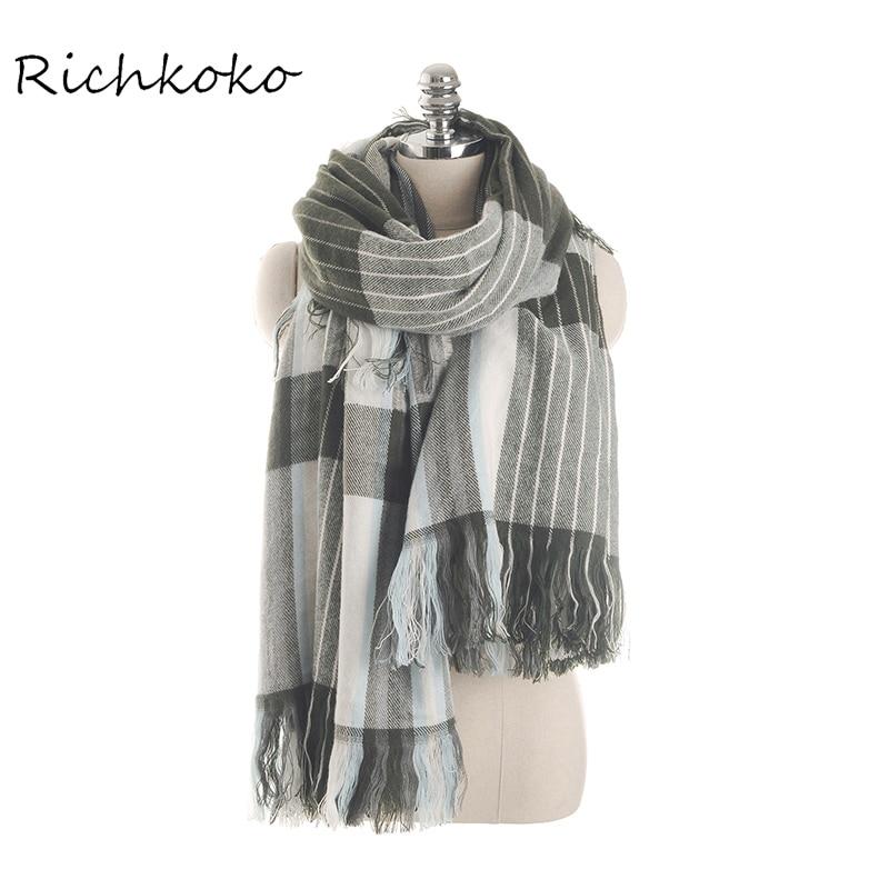 Richkoko New Fashion Women Scarf Autumn And Winter Fringe Gray Striped Scarf Shawl Streetwear Long Warm Women Scarf Cachecol