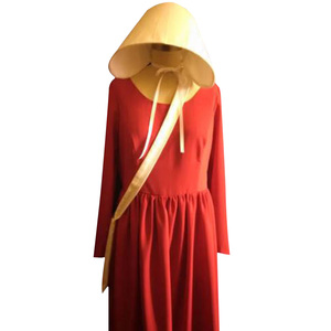 Image 2 - The Handmaids Tale Cosplay Offred Costume Long Dresses Cloak Halloween Carnival Women Red Cape Hat Bag Full Set Party Gown Suit