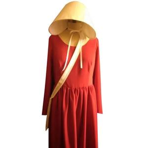 Image 2 - Vestido de Cosplay de The Handmaids Tale para mujer, vestidos largos, capa roja para Halloween, Carnaval, sombrero, bolsa, conjunto completo, traje de fiesta