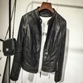 2017 Fashion Women's Slim Short style Motorcycle Leather Jacket Spring Winter Women Black O-neck PU Leather Coat