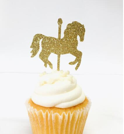 glitter Carousel Horse carnival theme birthday cupcake toppers baptism Christening party decoration doughnut food picks