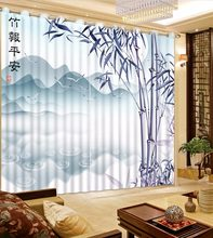 Customized Blackout Polyester/Cotton Curtains 3D Window Curtain For Living Room Bedroom hand painted Bamboo Curtains Drapes(China)