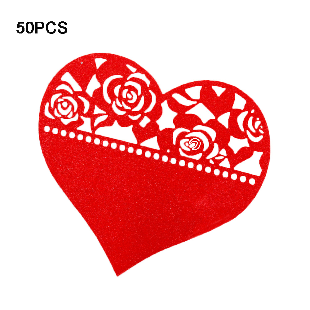 Floral Heart Place Cards Laser Cut 50pcs/set Wedding Table Decoration Wine Glass image