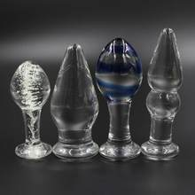 YEMA 4 Types Glass Crystal Dildo Anal Butt Plug Luminous Transparent Sex Toys for Woman Men Adult Sex Shop(China)