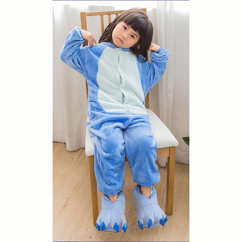 Kid Blue Stitch Cosplay Kigurumi Onesies Child Cartoon Anime Jumpsuit Costume For Girl Boy Animal Disguise Sleepwear Pajamas in Blanket Sleepers from Mother Kids