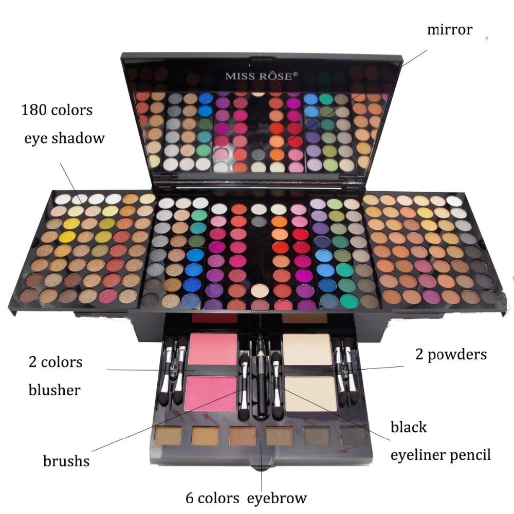 MISS ROSE Makeup Set Eyeshadow Palette Matte Shimmer 180 Colors Eye Shadow Eyebrow Blush Piano Box Case Dropshipping Hot Sale
