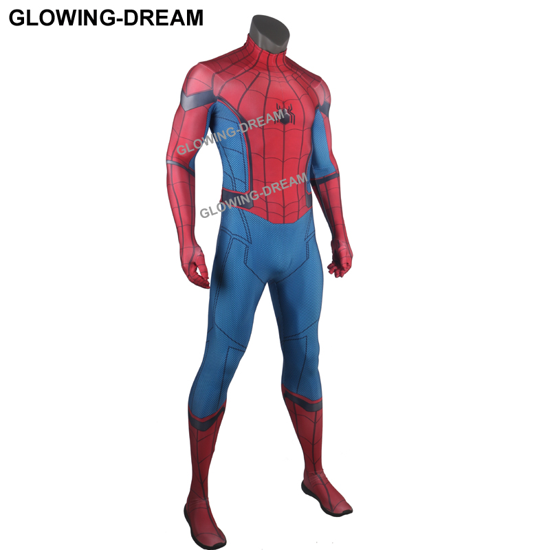 High Quality Tom Spider Man Cosplay Costume With U-zipper Homecoming Spider Man Costume For Halloween Spiderman Fullbody Suit