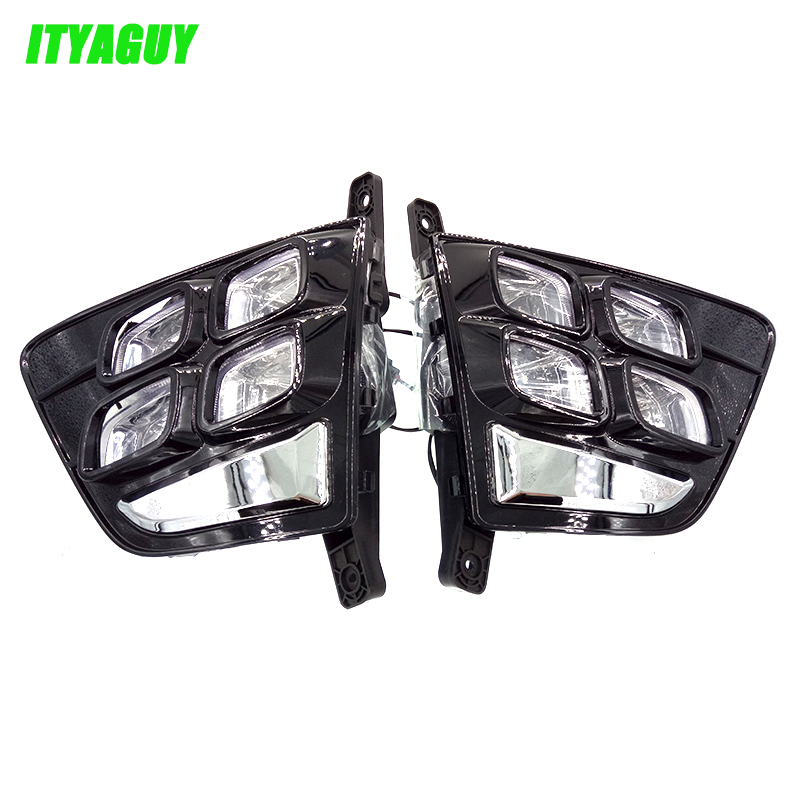 New Car Accessories 12V LED Daytime Running Light DRL Fog Lamp Decoration For Hyundai Creta IX25 2014 2015 2016 qvvcev 2pcs new car led fog lamps 60w 9005 hb3 auto foglight drl headlight daytime running light lamp bulb pure white dc12v