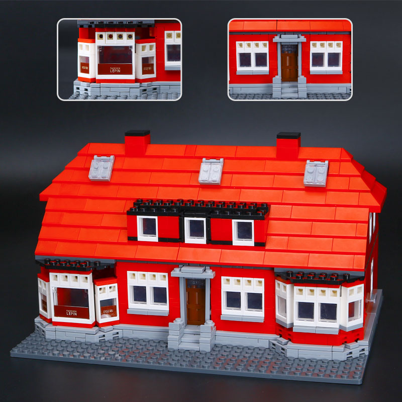 Lepin 17006 928Pcs New City Serier The Red House Set 4000007 Education Building Kits Blocks Bricks Model Children Toys Boy Gift lepin 02012 city deepwater exploration vessel 60095 building blocks policeman toys children compatible with lego gift kid sets