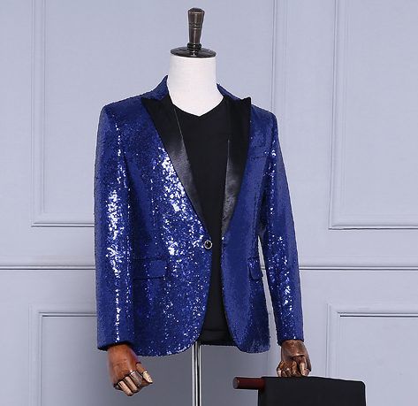 Free shipping mens navy blue/light golden/red full sequined tuxedo jacket/stage performance jaceket/can customs make