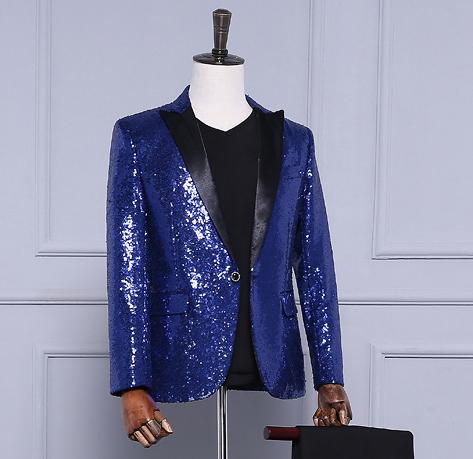 Frete grátis mens azul marinho/luz dourada/vermelho cheio de lantejoulas smoking jacket/performance de palco jaceket/pode customs faça