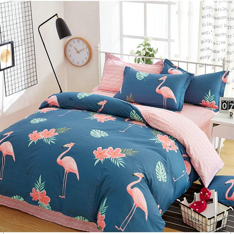 Ensembles de literie d'impression d'oiseaux pastorale de plante florale draps de lit créatifs de bande dessinée ensembles de couverture de couette de taie d'oreiller de literie de coton