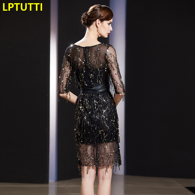 LPTUTTI Sequin Tassel New Sexy Woman Plus Size Social Festive Elegant Formal Prom Party Gowns Fancy Short Luxury Cocktail Dress
