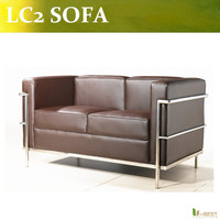 U BEST High Quality LC2 LoveSeat 2 Seater Leisure Le Corbusier 2 Seater Sofa Leather Loveseat
