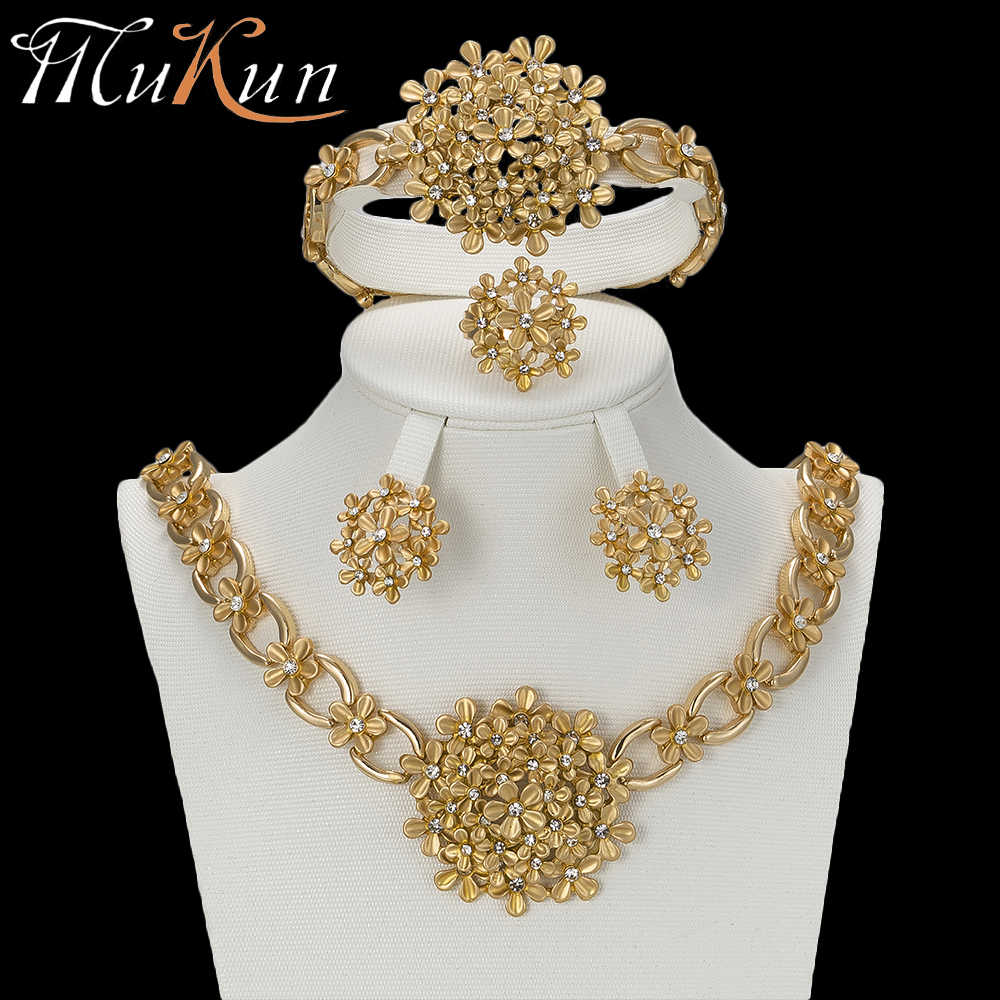 MuKun 2018 Turkish Dubai Gold Jewelry Sets For Women Gold Color Indian Jewelry Sets Costume Jewelry Fashion Women Accessories