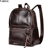 cowhide genuine leather man bags vintage double shoulder bag mochila escolar school Laptop bag male travel luggage bag