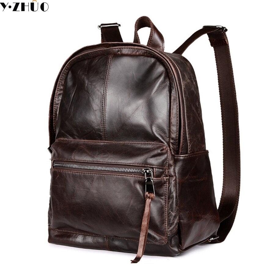 cowhide genuine leather man bags vintage double shoulder bag mochila escolar school font b Laptop b