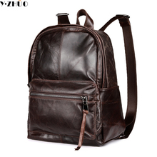Bolsas de hombre de cuero genuino del zurriago de la vendimia bolsa de hombro doble mochila escolar bolsa de Ordenador Portátil de la escuela masculina bolsa de equipaje de viaje
