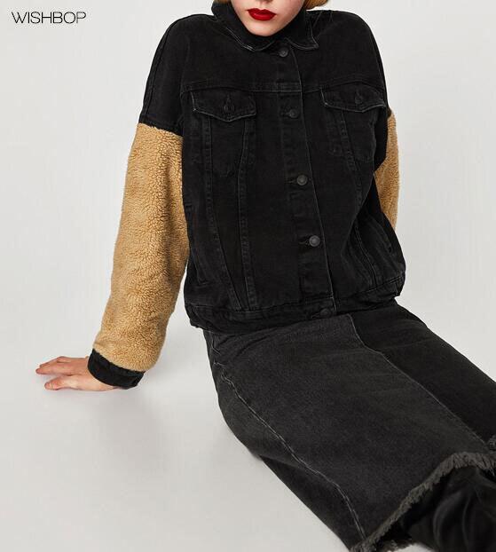 Faux Sleeves 2017 With Woman Jacket Denim Black Detail Wishbop Fur ZUYqW4pq